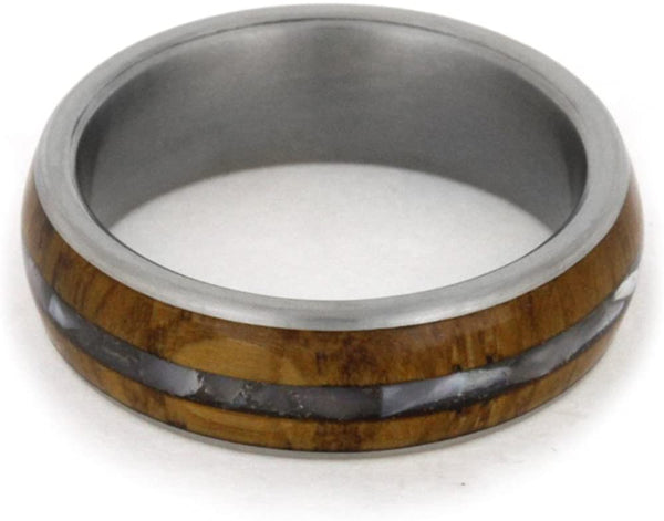 Mother of Pearl and Wood 6mm Comfort-Fit Matte Titanium Band, Size 7.75