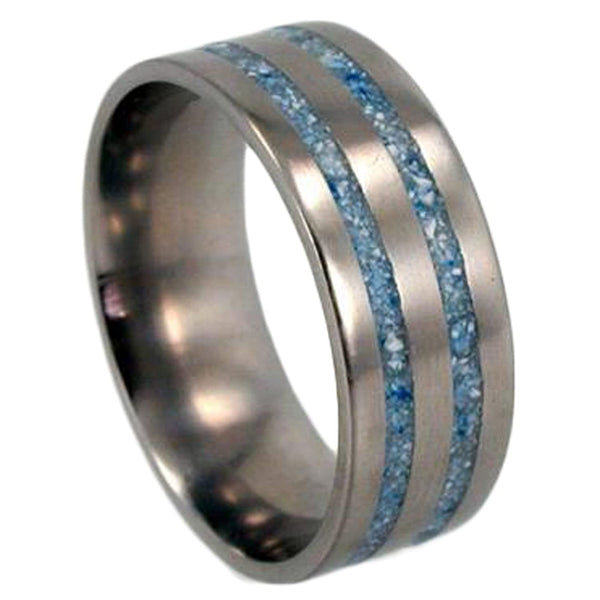 Turquoise Spectacular 10mm Comfort-Fit Brushed Titanium Wedding Ring