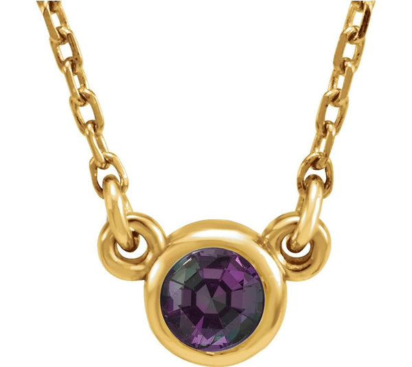 Chatham Created Alexandrite 'June' Birthstone 14k Yellow Gold Pendant Necklace, 16""