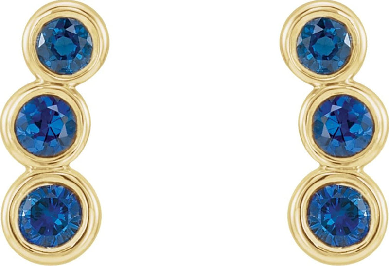 Blue Sapphire Three-Stone Ear Climbers, 14k Yellow Gold