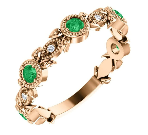 Chatham Created Emerald and Diamond Vintage-Style Ring, 14k Rose Gold, Size 7.25