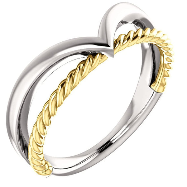 Negative Space Rope Trim and Curved 'V' Ring, Rhodium-Plated 14k White and Yellow Gold, Size 4.25