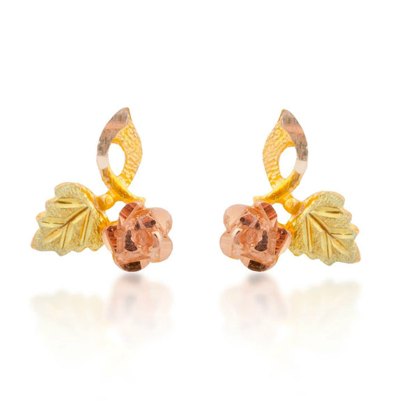 Rose with Leaf Earrings, 10k Yellow Gold, 12k Green and Rose Gold Black Hills Gold Motif