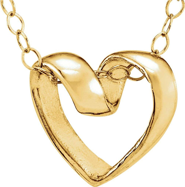 Girl's 14k Yellow Gold Open Heart Slide Pendant Necklace, 15""
