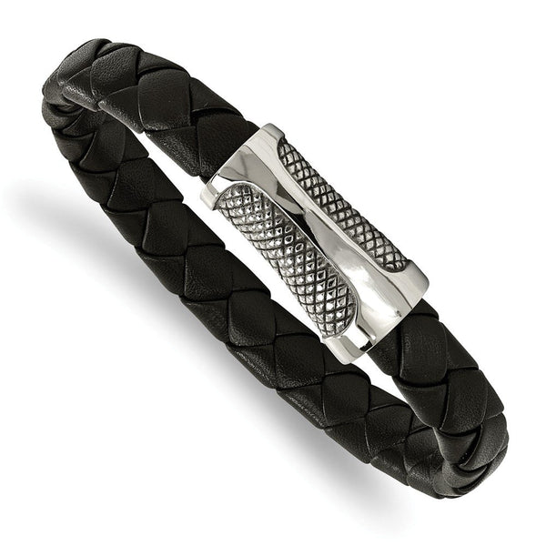 Men's Polished Stainless Steel Black Leather Textured Bracelet, 8.5""