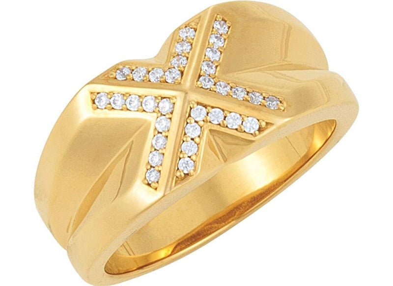 Men's Diamond 14k Yellow Gold Belcher Style Ring, Size 11 (.25 Cttw, GH Color, I1 Clarity)