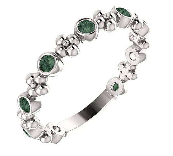 Chatham Created Alexandrite Beaded Ring, Rhodium-Plated 14k White Gold