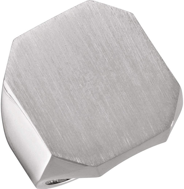 Men's Satin Brushed Signet Ring, 18k Palladium White (22X20MM)