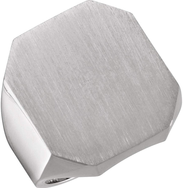 Men's Satin Brushed Signet Ring, 18k White Gold (22X20MM)