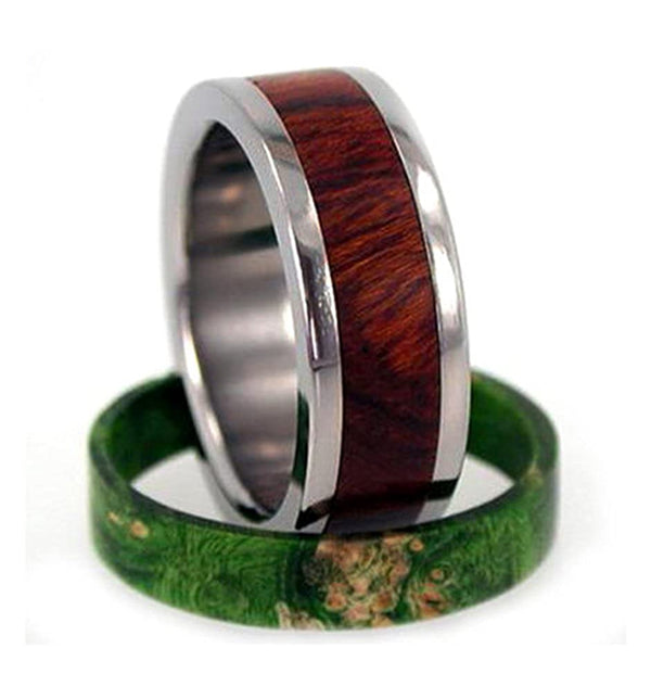 Two Rings in One: Green Box Elder Burl or Ironwood 9mm Comfort-Fit Titanium Band, Size 13