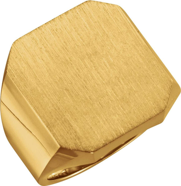 Men's Satin Brushed Signet Ring, 18k Yellow Gold (22X20MM)