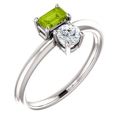 Peridot and Sapphire Two-Stone Ring, Sterling Silver, Size 7