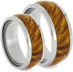 Gold Box Elder Burl Wood Comfort-Fit Titanium His and Hers Wedding Bands Sizes M 8-F8