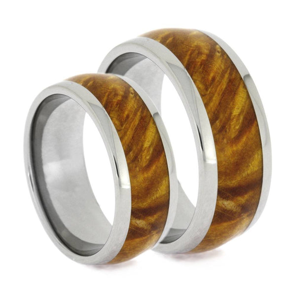 Gold Box Elder Burl Wood Comfort-Fit Titanium His and Hers Wedding Band Set