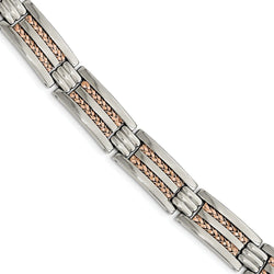 Men's Polished Stainless Steel Rose IP-Plated Bracelet, 8.5""