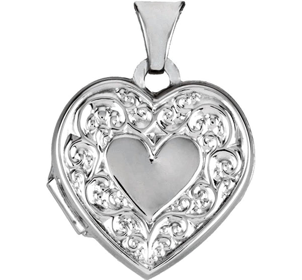 Sterling Silver Heart Scroll Design Heart Locket