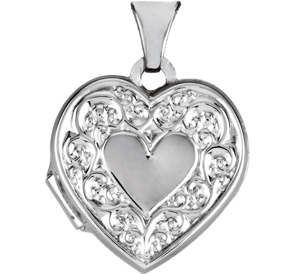 Sterling Silver Heart Locket Necklace, Adjustable Rolo Chain 20""