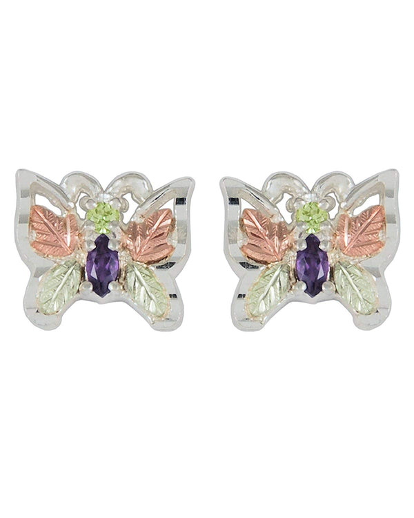 Peridot and Amethyst Butterfly Earrings, Sterling Silver, 12k Rose and Green Gold Black Hills Gold Motif