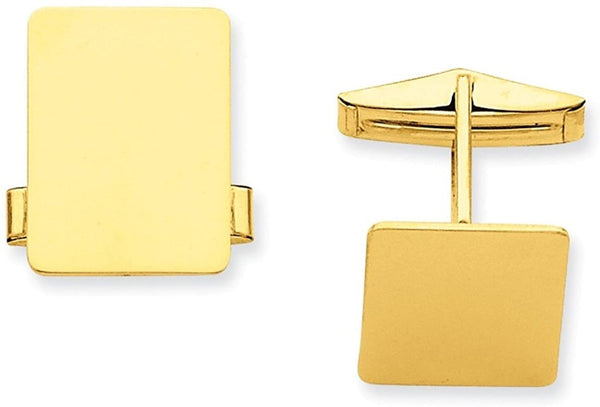 14k Yellow Gold Rectangular Cuff Links, 19.5X15MM