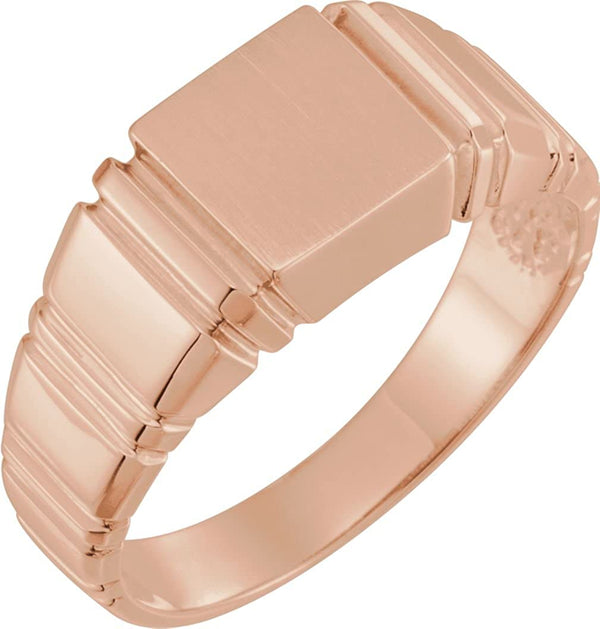 Men's Open Back Square Signet Ring, 14k Rose Gold (11mm)