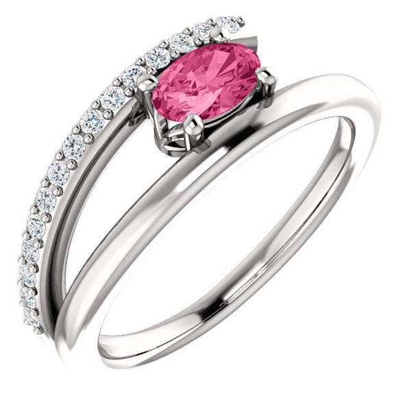 Pink Tourmaline and Diamond Bypass Ring, Sterling Silver (.125 Ctw, G-H Color, I1 Clarity), Size 7.5
