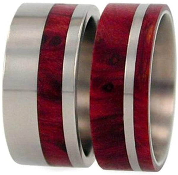Redwood, Titanium Pinstripe Band, Men's Redwood Stripe Ring, Couples Wedding Band Set, M11.5-F6