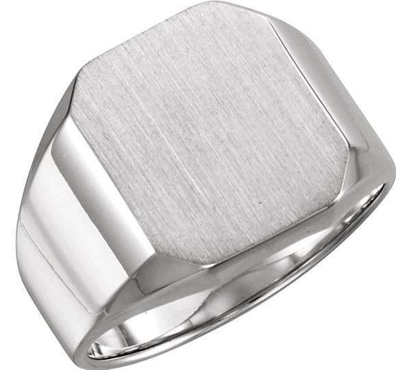 Men's Brushed Satin Signet Ring, Platinum (16X14MM)