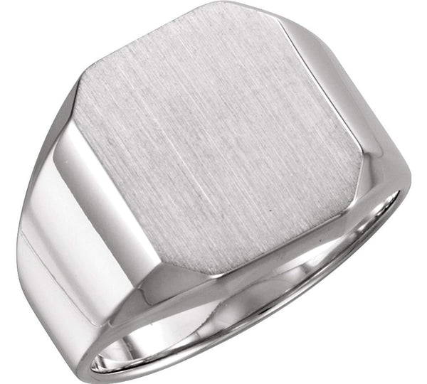 Men's Brushed Satin Signet Ring, Platinum, Size 10 (16X14MM)