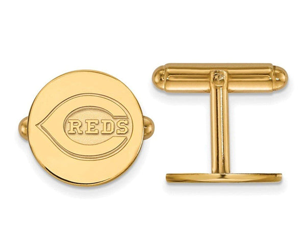 14k Yellow Gold MLB Cincinnati Reds Round Cuff Links, 15MM