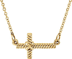 "Rope-Trim Sideways Cross Necklace, 14k Yellow Gold, 16.5"" (8.65x16MM)"