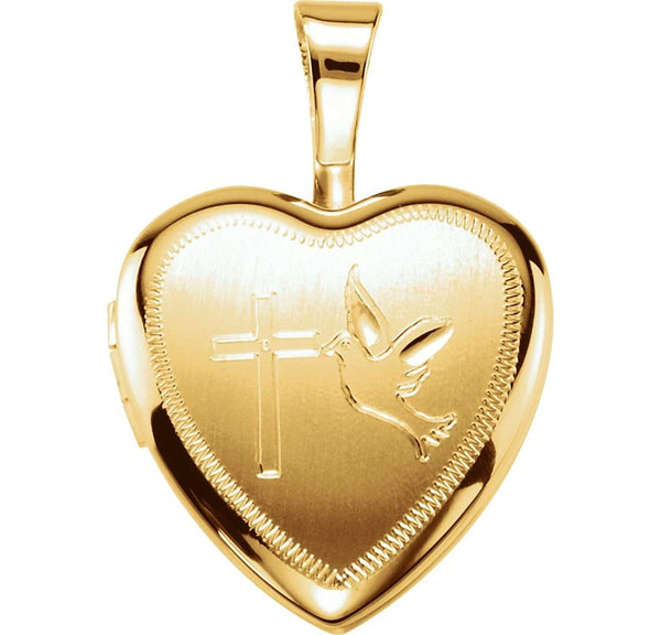 Petite Cross and Dove Heart 14k Yellow Gold Plated Sterling Silver Locket Pendant (12.50X12.00 MM)