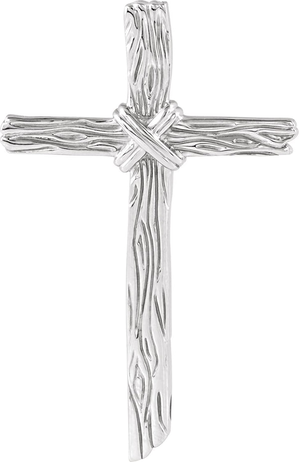 Woodgrain Cross Brushed 14k White Gold Pendant (50.75X32.25MM)