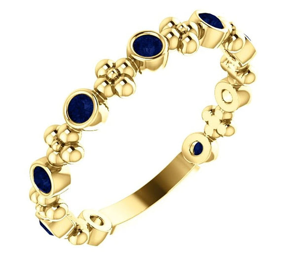 Genuine Blue Sapphire Beaded Ring, 14k Yellow Gold