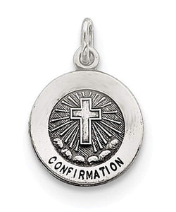 Sterling Silver Antiqued Confirmation Medal (14X12MM)