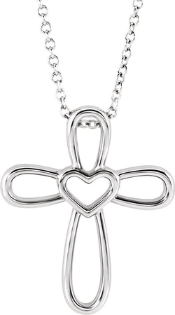 "Open Heart Cross Sterling Silver Pendent Necklace 16"" and 18"" (20.35X4.25 MM)"