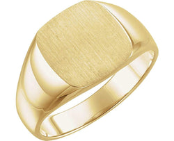 Men's Closed Back Square Signet Ring, 14k Yellow Gold (12mm) Size 8.75