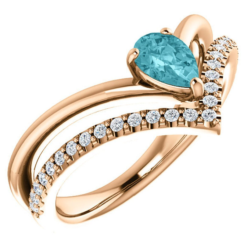 Blue Zircon Pear and Diamond Chevron 14k Rose Gold Ring (.145 Ctw, G-H Color, I1 Clarity)