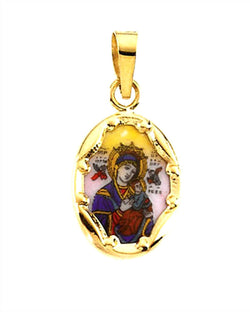 14k Yellow Gold Our Lady of Perpetual Help Hand-Painted Porcelain Medal (17x13.5 MM)