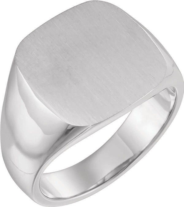 Men's Closed Back Signet Ring, Rhodium-Plated 10k White Gold (16mm) Size 8.25
