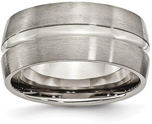 Brushed Titanium 10mm Grooved Comfort-Fit Band, Size 9.5