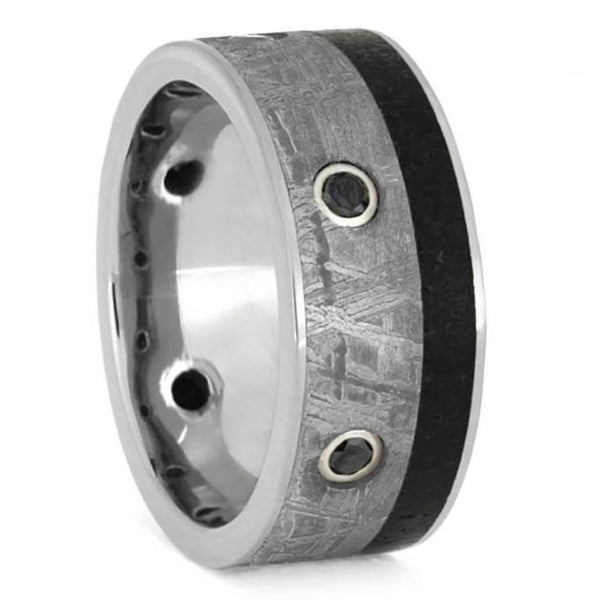 The Men's Jewelry Store (Unisex Jewelry) Black Diamond, Gibeon Meteorite, Dinosaur Bone 9mm Titanium Comfort-Fit Band