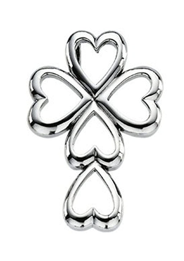 Cross and Heart Sterling Silver Pendant (28.75X20.00 MM)
