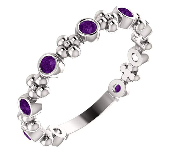 Genuine Amethyst Beaded Ring, Rhodium-Plated 14k White Gold