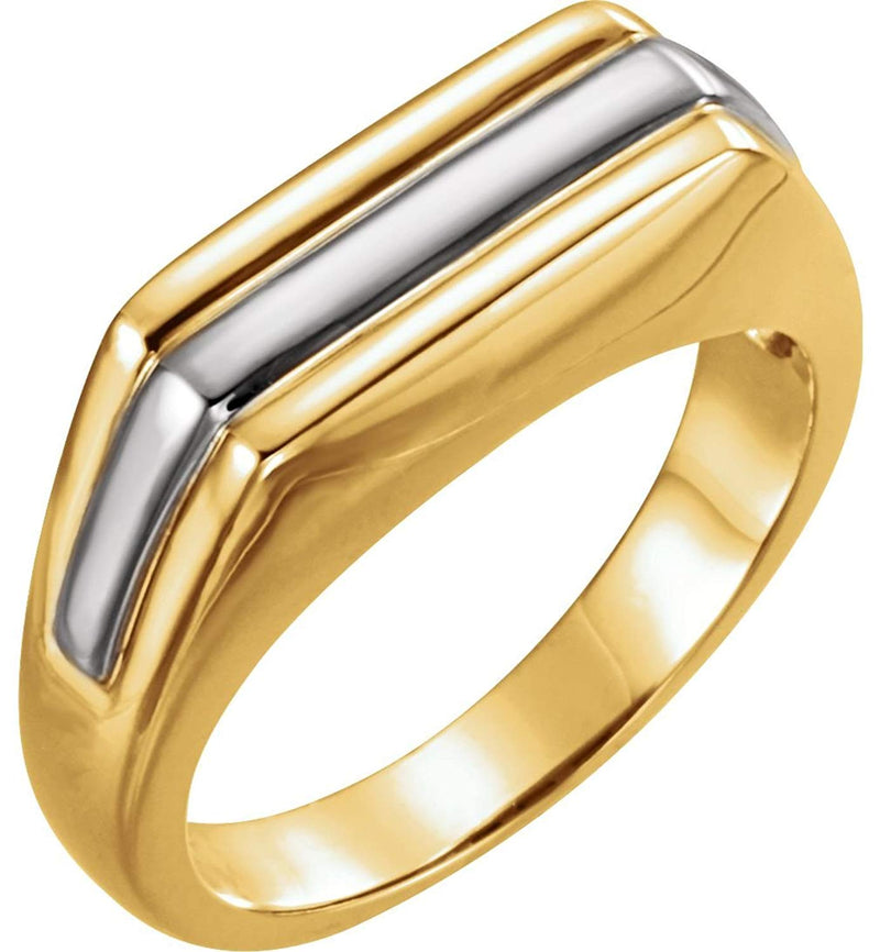 Men's Platinum and 18k Yellow Gold 7mm Flat Top Ring