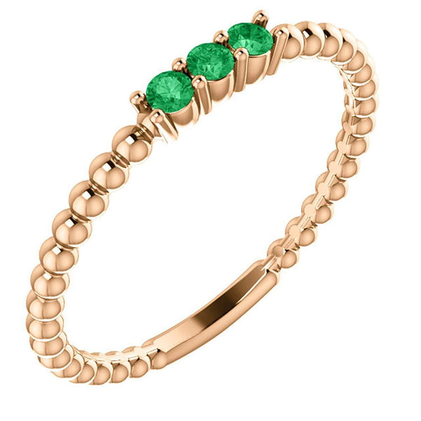 Emerald Beaded Ring, 14k Rose Gold, Size 6