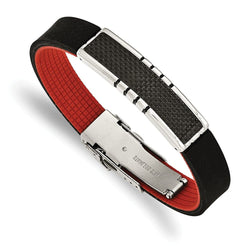 Men's Polished Stainless Steel Carbon Fiber Inlay Black and Red Rubber ID Bracelet, 8.5""