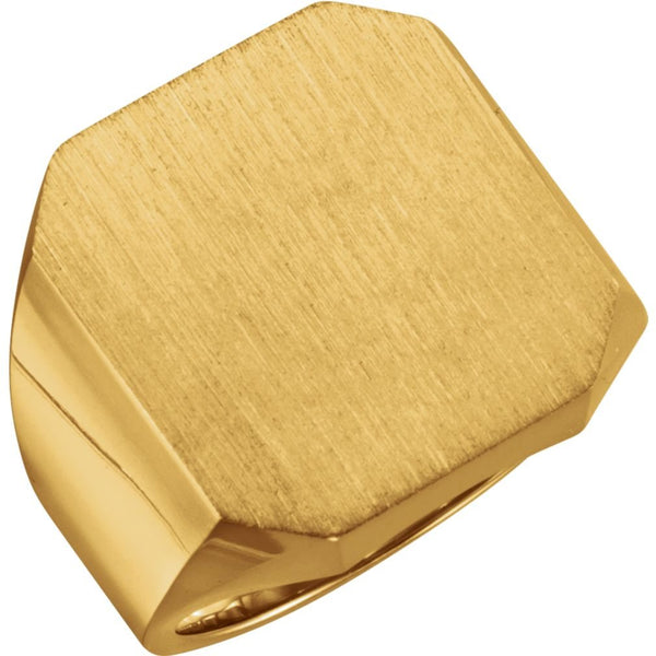 Men's 18k Yellow Gold Octagon Signet Ring, 20X18mm