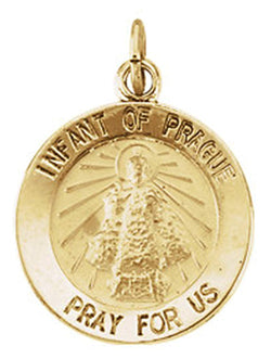 14k Yellow Gold Round Infant of Prague Medal (22 MM)