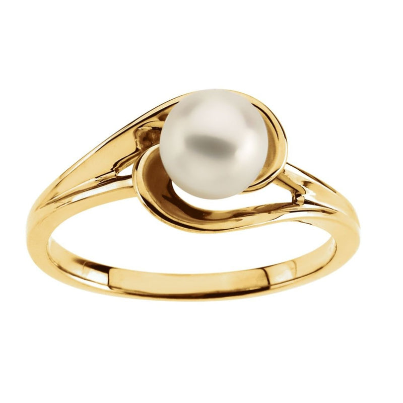 White Akoya Cultured Pearl Ring, 14k Yellow Gold (6mm)