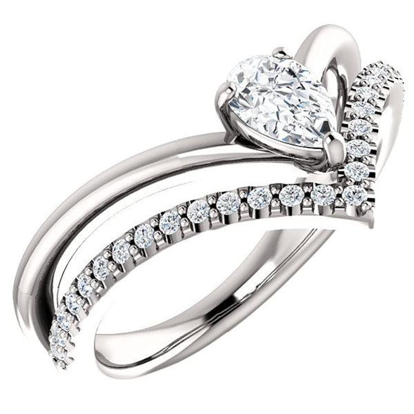 White Sapphire Pear and Diamond Chevron Platinum Ring ( .145 Ctw, G-H Color, SI2-SI3 Clarity)